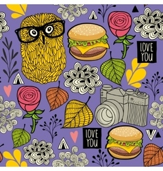 Seamless background with hamburger and hipster owl vector