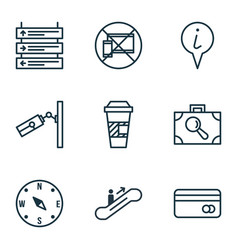 Set of 9 traveling icons includes video vector