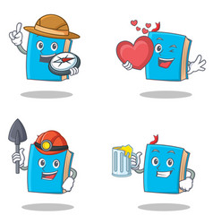 Set of blue book character with explorer heart vector