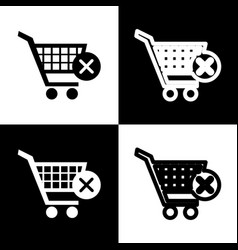 Shopping cart with delete sign black and vector