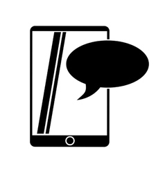 Silhouette mobile device chat dialog design vector