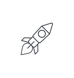 startup rocket launch thin line icon linear vector image