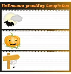 Three Halloween greeting templates vector image