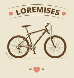 Vintage bicycle logo or print design vector