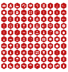 100 women health icons hexagon red vector