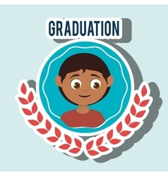 Kid on graduation emblem isolated icon design vector