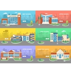 Set of school buildings architectural variations vector
