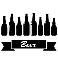 Black glossy isolated beer bottles vector
