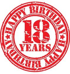 Grunge 18 years happy birthday rubber stamp vector image