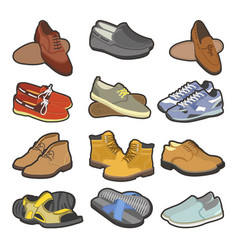 men shoes boots types flat isolated icons vector image