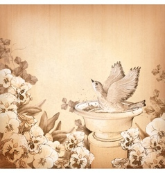 Pencil hand drawing bird in bath and pansy flower vector