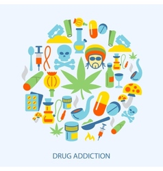 Drugs icons flat vector image