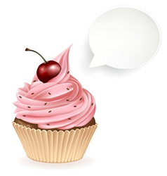 Speech bubble cupcake vector