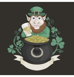 Saint patrick with a pot of gold and beer vector