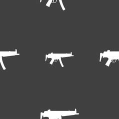 Machine gun icon sign seamless pattern on a gray vector