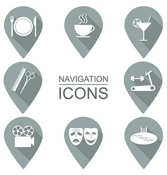 Set of navigation icons flat design public vector