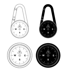 Compass set contour and silhouette vector