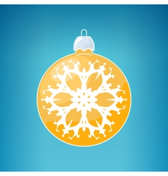 Yellow ball with snowflake vector