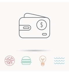 Dollar wallet icon usd cash money bag sign vector