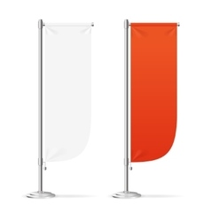 Blank banner flag red and white set vector