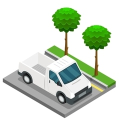 Pickup construction isometric 3d van car truck vector
