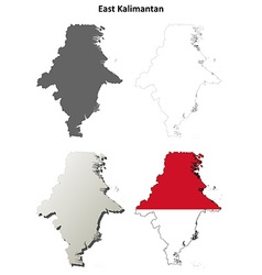 East kalimantan blank outline map set vector