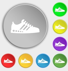Sneakers icon sign symbol on eight flat buttons vector