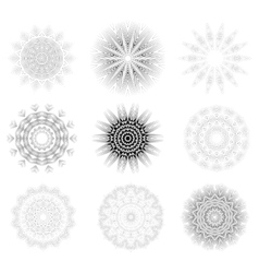 Round geometric ornaments set vector
