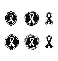black awareness ribbons and Badges vector image vector image