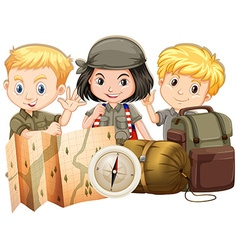 Campers with map and bags vector