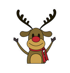 Color image cartoon half body reindeer with scarf vector