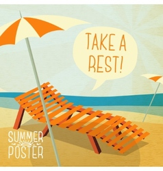 Cute summer poster - sun bathe on the chaise vector image
