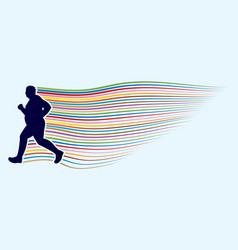 Fat man running graphic vector