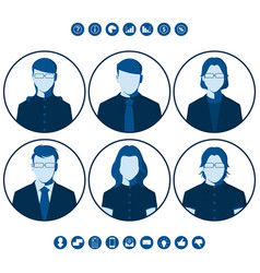 flat silhouettes business people for user picture vector image