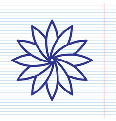 Flower sign navy line icon on notebook vector