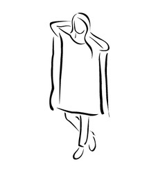 Girl posing in fashionable outfit vector