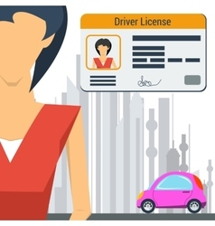 Girl with car and driver license vector