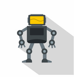 grey robot with monitor head icon flat style vector image