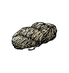 Hand spun twisted yarn of grey wool farm product vector