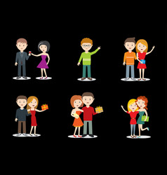 Happy young couple and friends character set vector