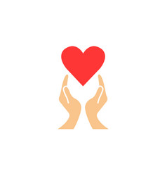 Heart with hands solid icon healtcare sign vector