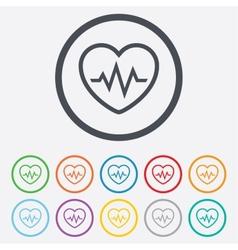 Heartbeat sign icon cardiogram symbol vector