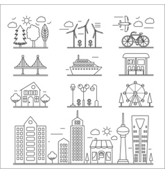 Landscape city buildings thin line ourline linear vector image vector image