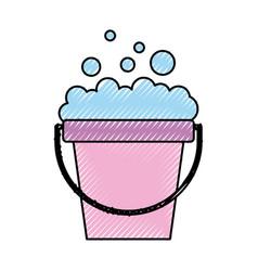 Laundry bucket with foam vector