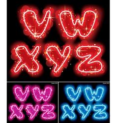 Neon alphabet letters vector