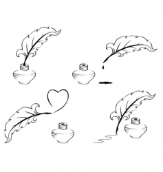 pen and inkwell vector image vector image