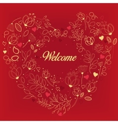 Red card with floral heart and text welcome vector