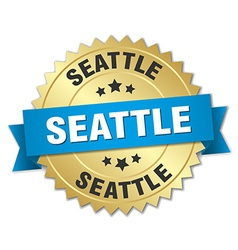 Seattle round golden badge with blue ribbon vector