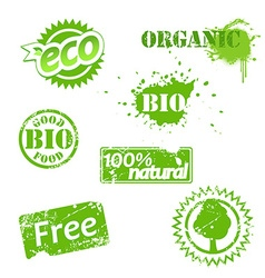 Set of used bio labels vector image