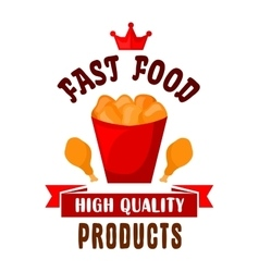Takeaway bucket of fast food fried chicken icon vector image vector image